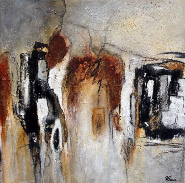 Ursula Schmidt - Abstrakte Malerei - Mischtechnik - Acryl, Bitumen, Rost 60 x 60 cm