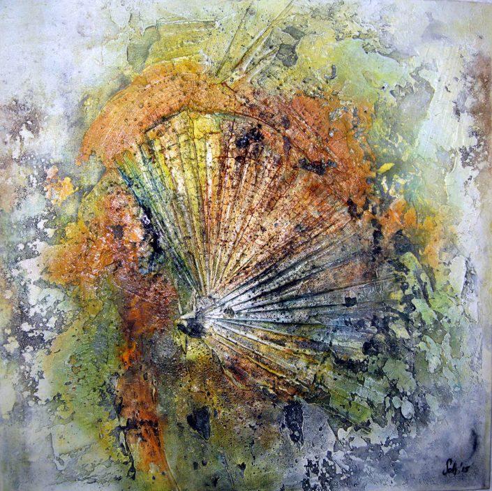 Ursula Schmidt - Abstrakte Malerei - Strukturbild - Marmormehl, Sumpfkalk, Öle, Beize 60 x 60 cm