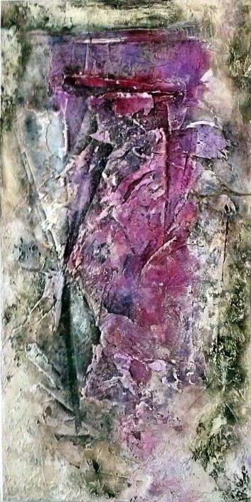 Ursula Schmidt - Abstrakte Malerei - Strukturbild - Spachtelmasse, Öle, Tusche, Pigmente, Beize 50 x 100 cm