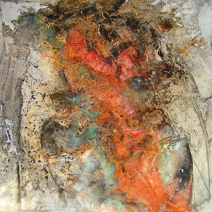Ursula Schmidt - Abstrakte Malerei - Strukturbild - Marmormehl, Spachtelmasse, Öle, Beize, Pigmente 80 x 80 cm
