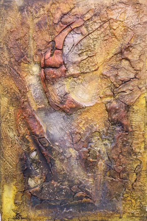 Ursula Schmidt - Abstrakte Malerei - Strukturbild 40 x 80 cm