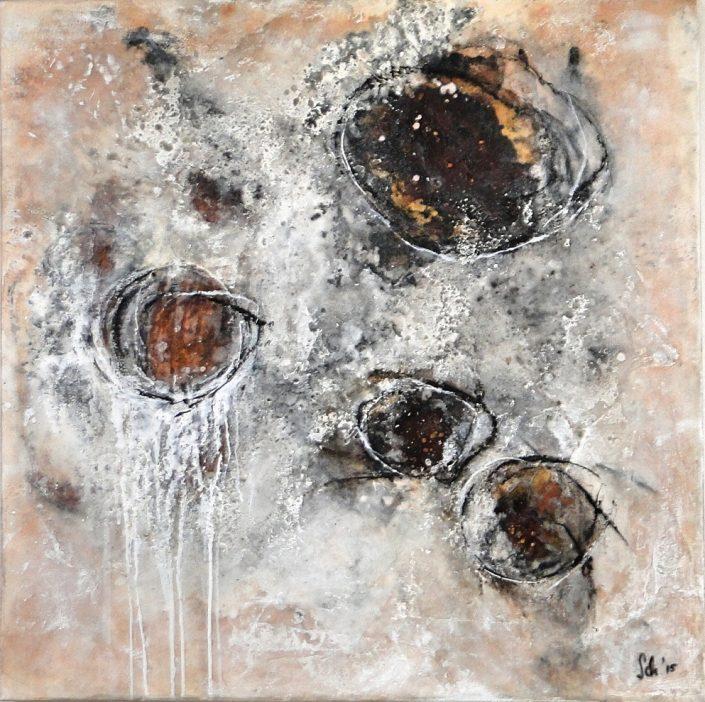 Ursula Schmidt - Abstrakte Malerei - Mischtechnik - Collage - Strukturmasse, Rost, Beize, Schellack 80 x 80 cm