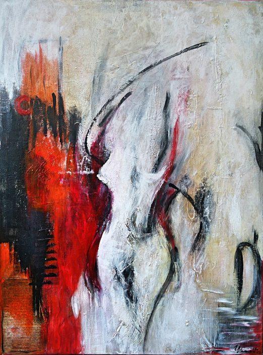 Ursula Schmidt - Abstrakte Malerei - Acrylbild - Collage 80 x 60 cm