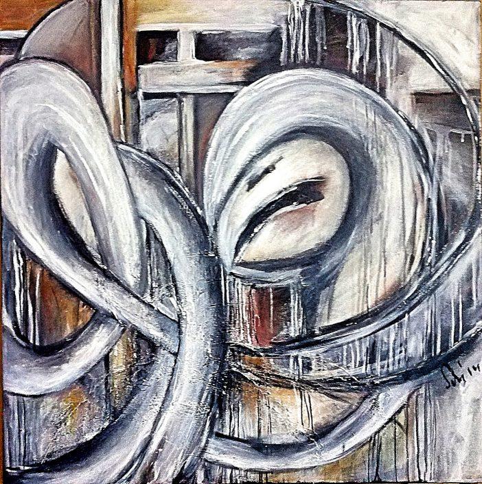 "Ursula Schmidt - Abstrakte Malerei Acrylbild ""Psychedelia II"" 80 x 80 cm"