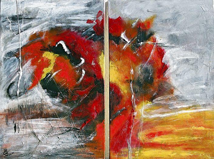 Ursula Schmidt - Abstrakte Malerei - Acrylbild - Diptychon 50 x 40 cm