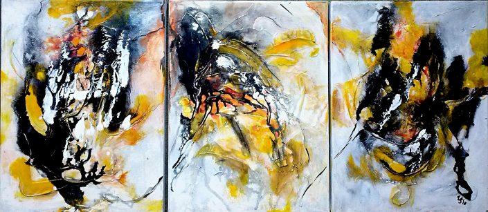 Ursula Schmidt - Abstrakte Malerei - Acrylbild - Triptychon 40 x 90 cm