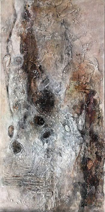 Ursula Schmidt - Abstrakte Malerei - Mischtechnik - Collage - Strukturmasse, Rost, Beize, Schellack 120 x 60 cm