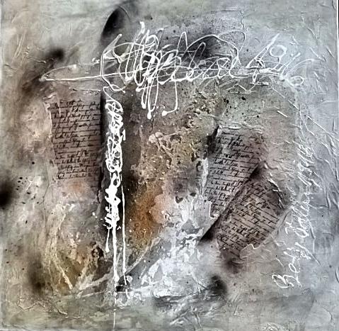 Ursula Schmidt - Abstrakte Malerei - Mischtechnik - Collage 60 x 60 cm