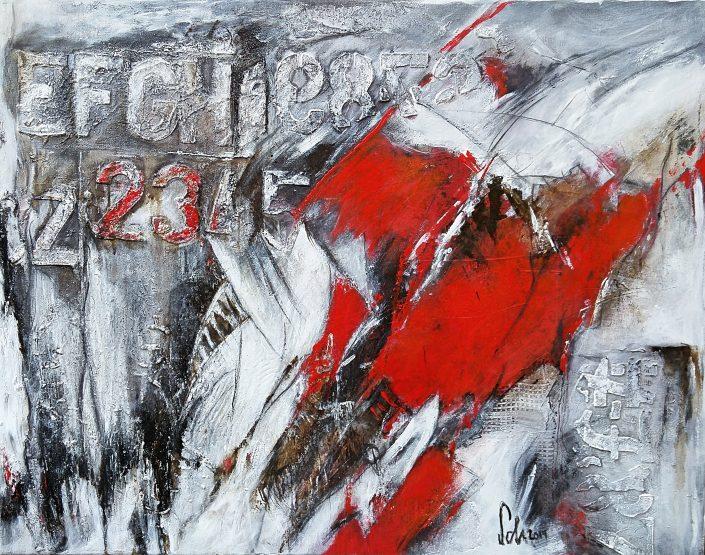 Ursula Schmidt - Abstrakte Malerei - Mischtechnik - Strukturmasse, Bitumen, Acryl 70 x 90 cm