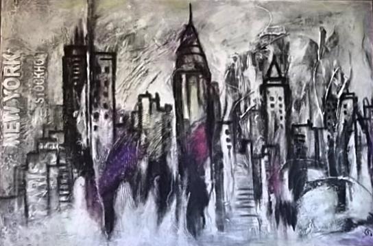 Ursula Schmidt - Abstrakte Malerei - Mischtechnik - Collage - Acryl auf Bitumen, Spachtelmasse 80 x 120 cm