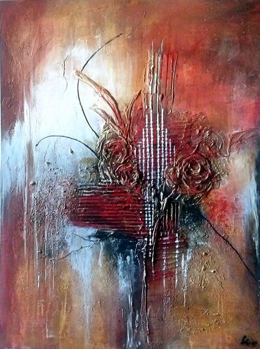 Ursula Schmidt - Abstrakte Malerei - Mischtechnik - Acryl, Sande, Goldpaste auf MDF-Platte 80 x 60 cm
