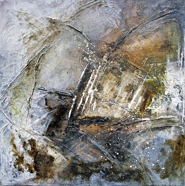 Ursula Schmidt - Abstrakte Malerei - Mischtechnik - Collage - Struktur, Acryl 80 x 80 cm