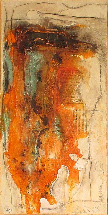 Ursula Schmidt - Abstrakte Malerei - Strukturbild - Collage - Marmormehl, Beize, Öle, Pigmente 40 x 80 cm
