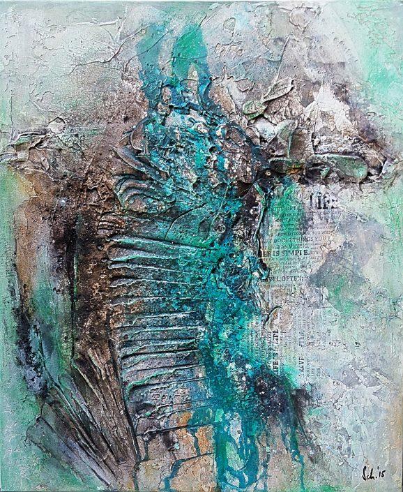 Ursula Schmidt - Abstrakte Malerei - Strukturbild - Collage - Sumpfkalk, Marmormehl, Beize, Pigmente 50 x 60 cm