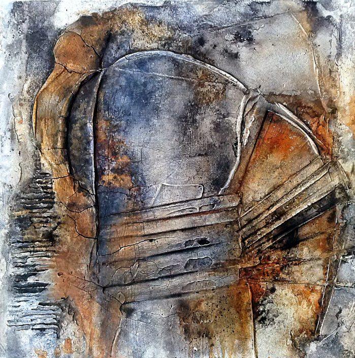 Ursula Schmidt - Abstrakte Malerei - Strukturbild - Marmormehl, Spachtelmasse, Öle, Tusche, Pigmente 60 x 60 cm