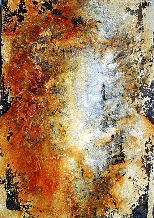 Ursula Schmidt - Abstrakte Malerei - Strukturbild - Gipshaftputz 70 x 100 cm