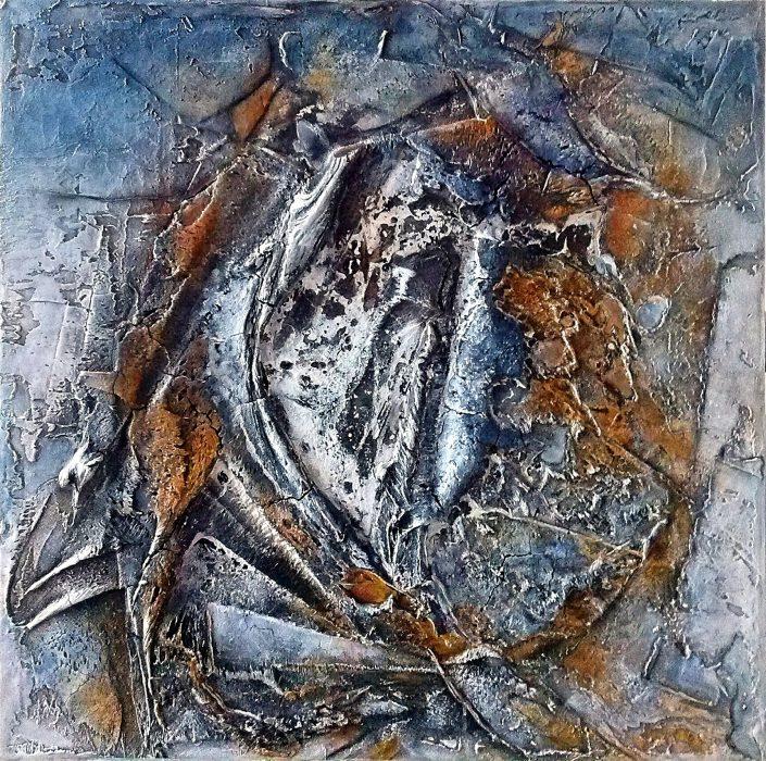 Ursula Schmidt - Abstrakte Malerei - Strukturbild - Marmormehl, Spachtelmasse, Öle, Tusche, Pigmente 80 x 80 cm