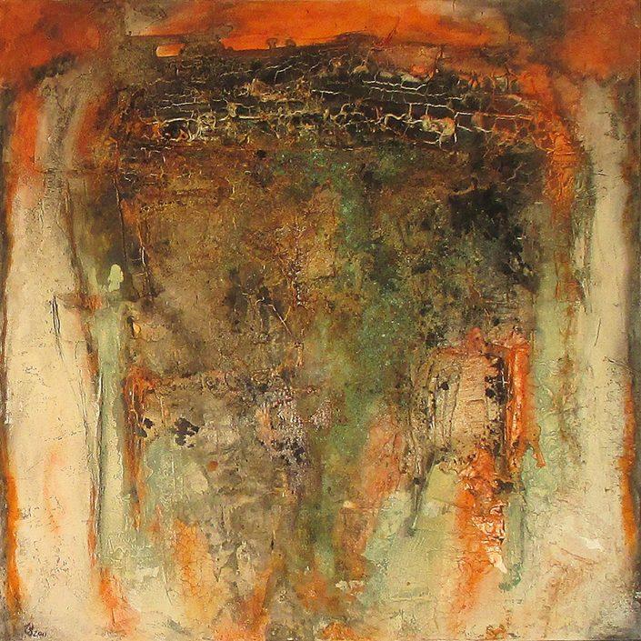 Ursula Schmidt - Abstrakte Malerei - Strukturbild - Marmormehl, Spachtelmasse, Beize, Öle, Pigmente 80 x 80 cm
