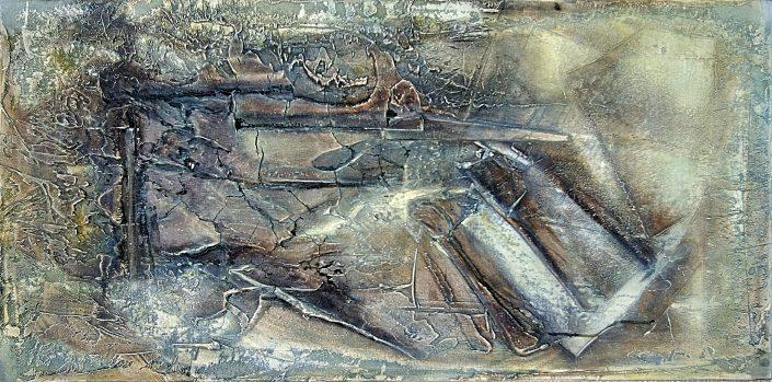 Ursula Schmidt - Abstrakte Malerei - Strukturbild 90 x 30 cm