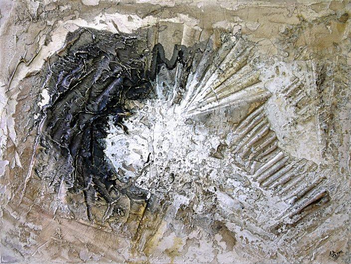 Ursula Schmidt - Abstrakte Malerei - Strukturbild - Grisaille - Marmormehl, Öle, Pigmente, Beize 80 x 60 cm