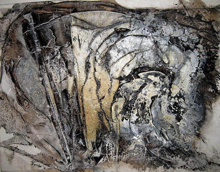 Ursula Schmidt - Abstrakte Malerei - Strukturbild - Grisaille - Marmormehl, Öle, Pigmente 90 x 70 cm