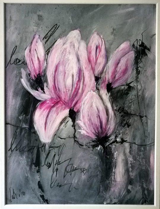 Ursula Schmidt - Abstrakte Malerei - Acrylbild auf MDF - Magnolie, 80 x 60 cm